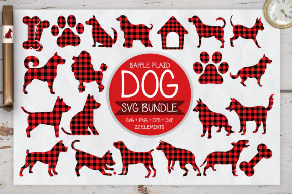 Download Free Dog Buffalo Plaid Bundle Graphic By Designfarm Creative Fabrica for Cricut Explore, Silhouette and other cutting machines.