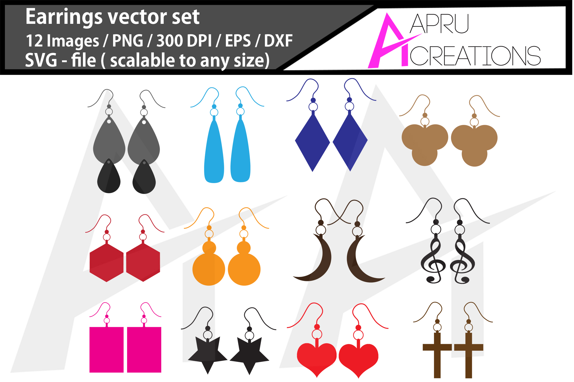Download Free Earrings Graphic By Aparnastjp Creative Fabrica for Cricut Explore, Silhouette and other cutting machines.