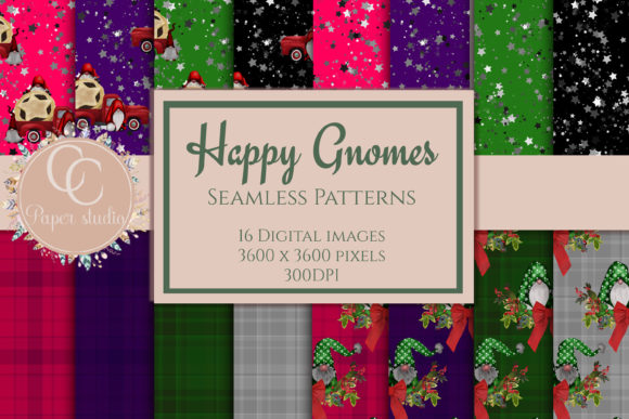 Print on Demand: Gnome Scrapbook Paper Graphic Patterns By CC Paper Studio