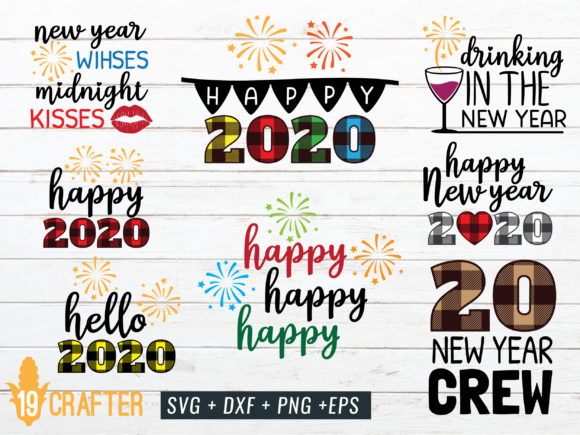 Download Free Happy New Year 2020 Cut File Graphic By Great19 Creative Fabrica for Cricut Explore, Silhouette and other cutting machines.