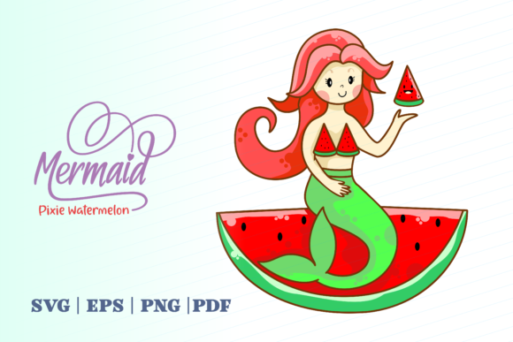 Print on Demand: Mermaid Pixie Watermelon Graphic Illustrations By Momentos Crafter