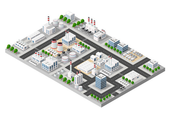 Print on Demand: Objects of Industrial Plants Graphic Illustrations By AlexZel