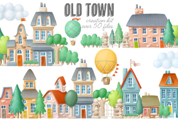 Download Free Old Town Scene Creator Graphic By Architekt At Creative Fabrica for Cricut Explore, Silhouette and other cutting machines.