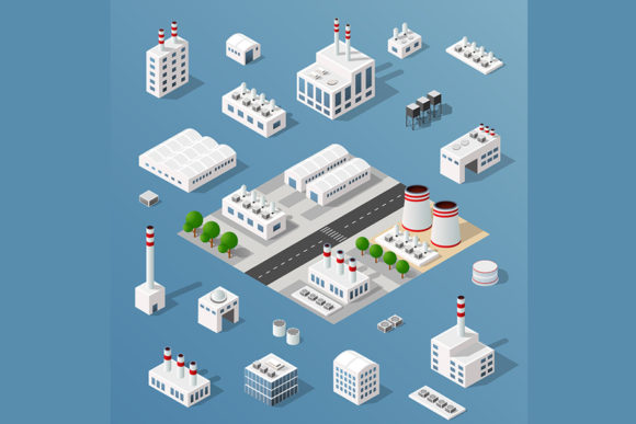 Print on Demand: Set of Objects of Industrial Plants Graphic Illustrations By AlexZel