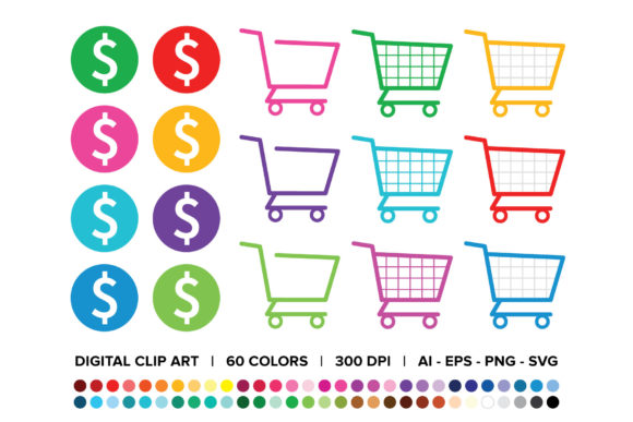 Download Free Shopping Carts Dollar Signs Clip Art Graphic By Running With for Cricut Explore, Silhouette and other cutting machines.