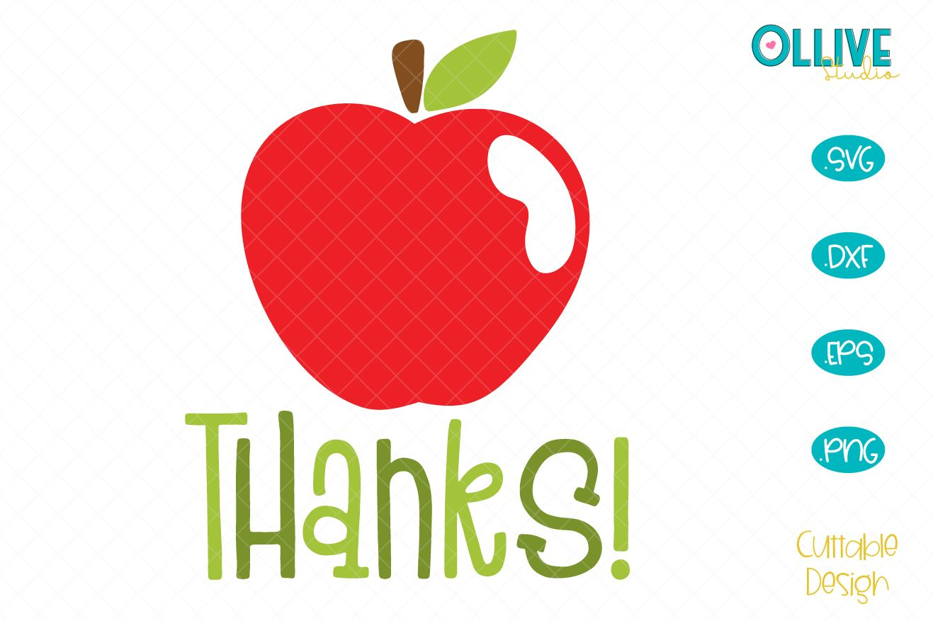 Download Free Teacher Apple Thanks Graphic By Ollivestudio Creative Fabrica for Cricut Explore, Silhouette and other cutting machines.