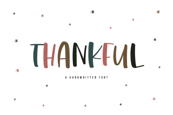 Print on Demand: Thankful Display Fuente Por KA Designs
