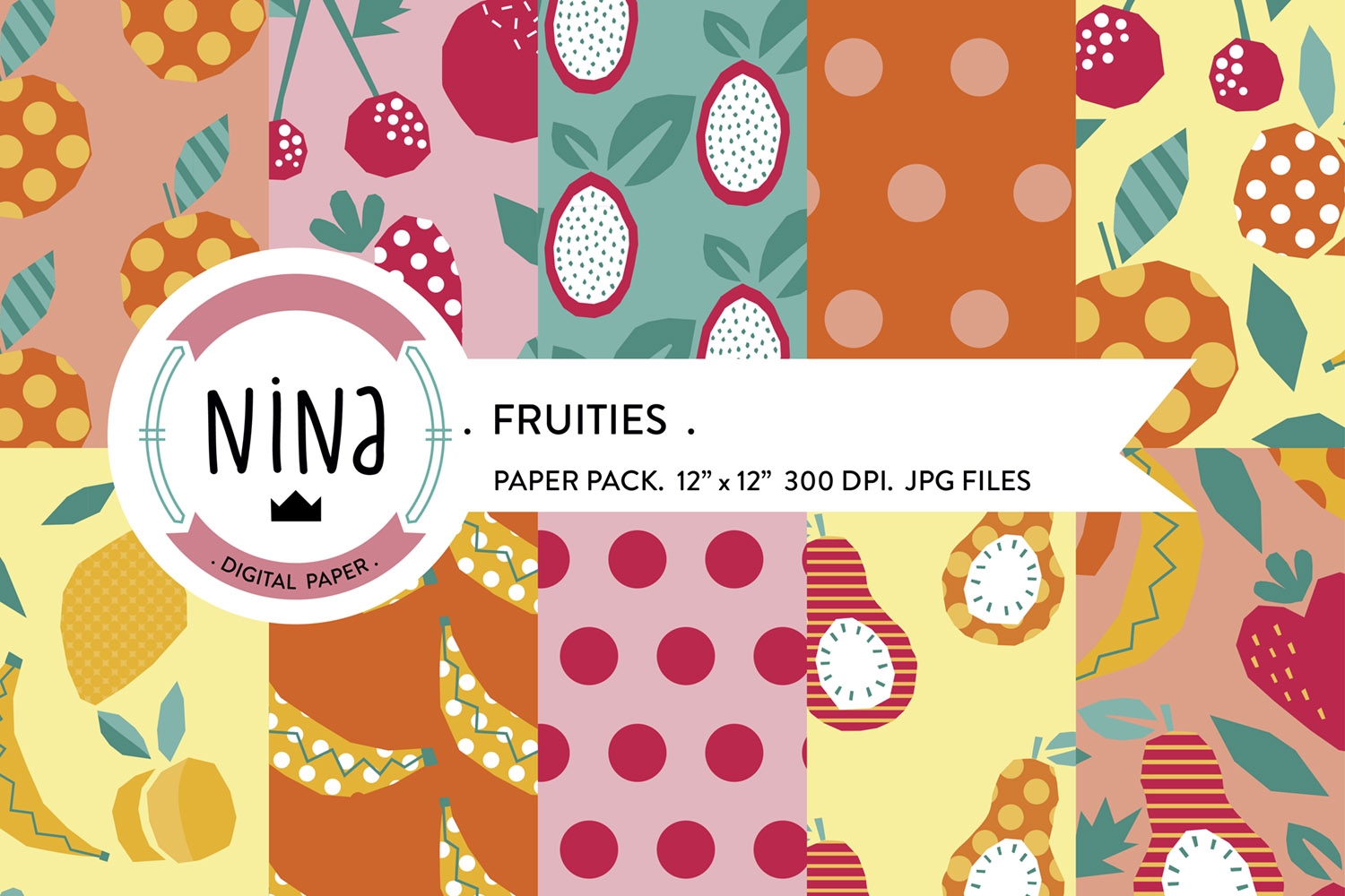 Download Free Tropical Fruits Digital Paper Fruit Graphic By Nina Prints for Cricut Explore, Silhouette and other cutting machines.