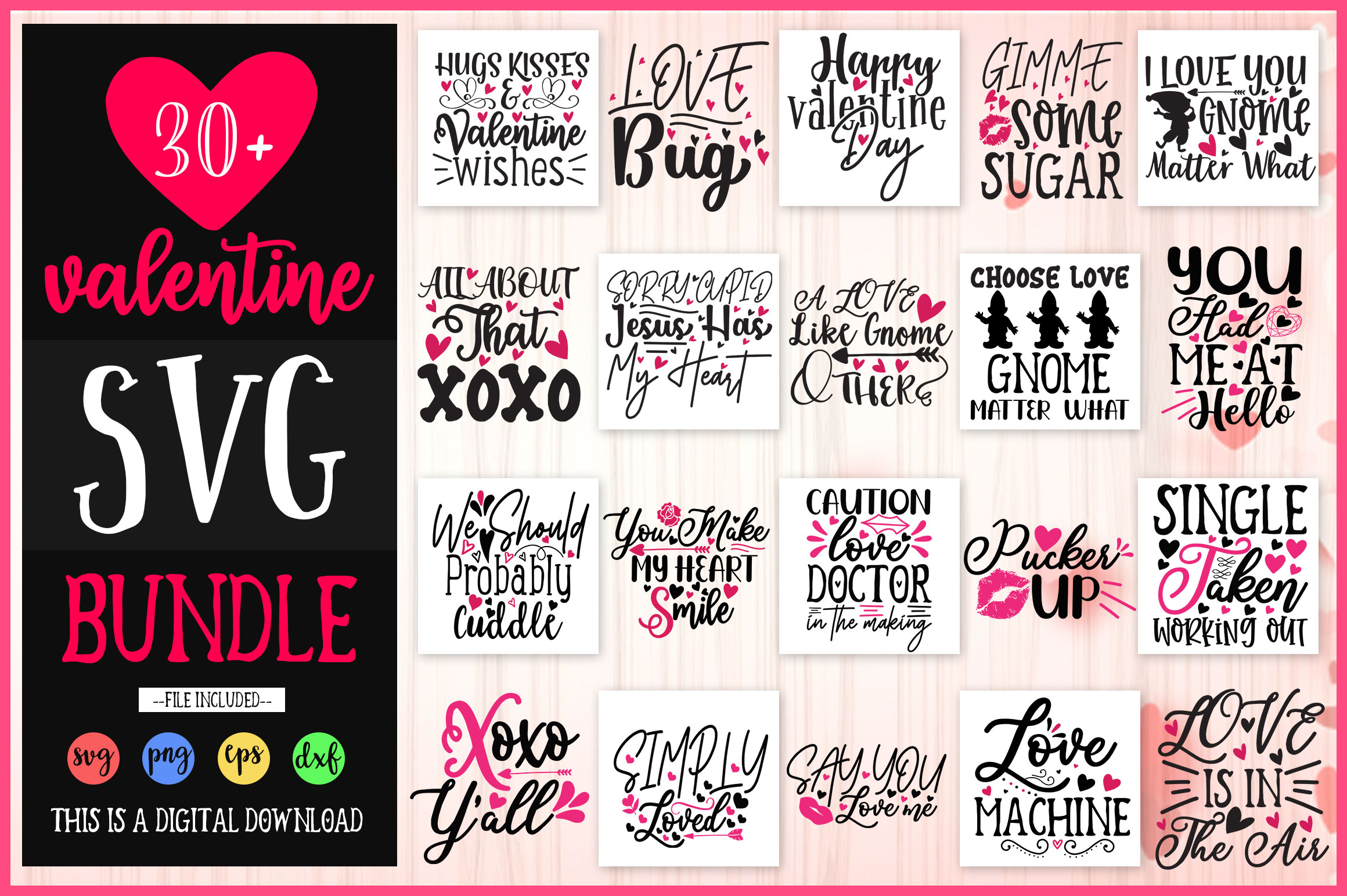 Download Free Valentine S Design Bundle Vol 1 Graphic By Orindesign Creative for Cricut Explore, Silhouette and other cutting machines.