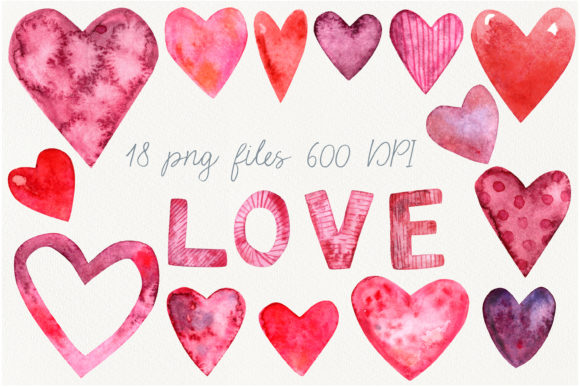 Print on Demand: Watercolor Heart Clip Art Graphic Objects By marisid11