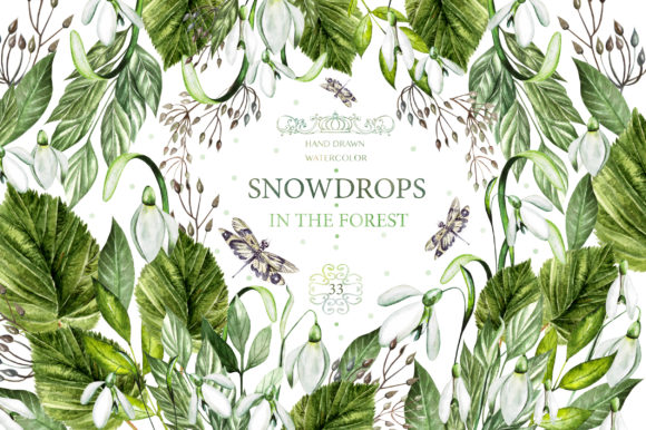 Watercolor Spring Snowdrops Graphic Objects By Knopazyzy
