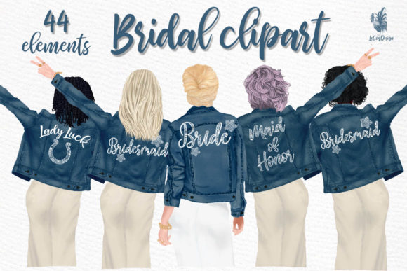 Wedding Clipart, Brides in Jackets Graphic Illustrations By LeCoqDesign