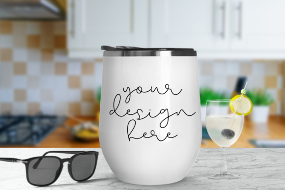 Print on Demand: White Tumbler Mock Up with Kitchen Background Graphic Product Mockups By Mockup Venue