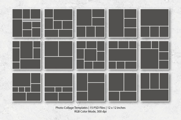 Download Free 15 Photo Collage Templates Graphic By Designcafeart Creative for Cricut Explore, Silhouette and other cutting machines.