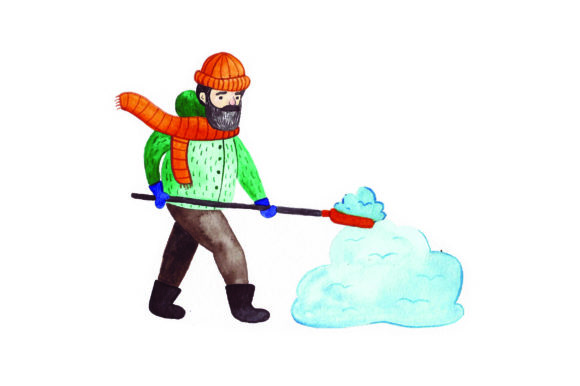 Person Shoveling Snow - Watercolor Winter Craft Cut File By Creative Fabrica Crafts