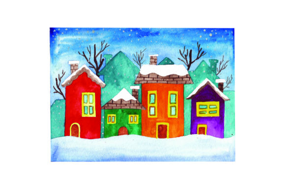 Snowy Village - Watercolor Winter Craft Cut File By Creative Fabrica Crafts