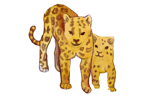 Download Free Mom And Baby Leopards In Watercolor Style Svg Cut File By for Cricut Explore, Silhouette and other cutting machines.