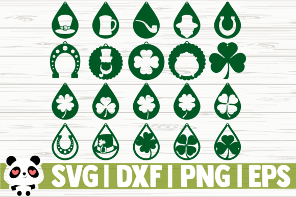 Print on Demand: 20 St Patricks Day Earrings Grafik Illustrationen von CreativeDesignsLLC