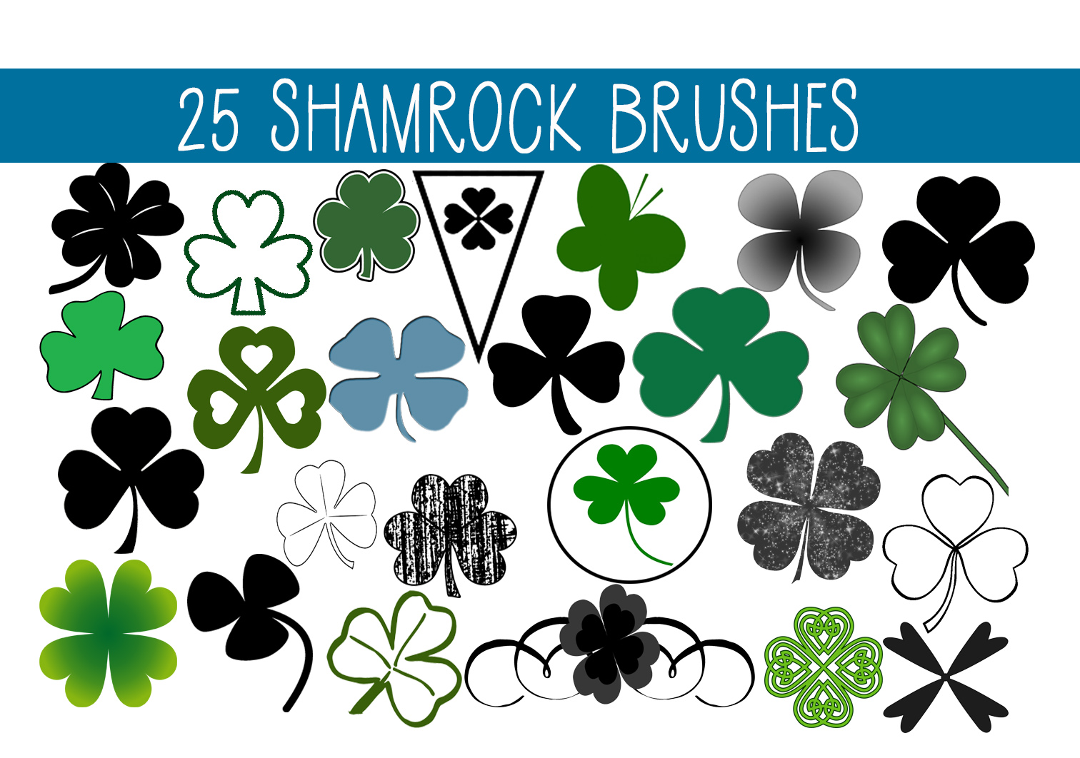 Download Free 25 Shamrock Clover Brushes Graphic By Capeairforce Creative for Cricut Explore, Silhouette and other cutting machines.