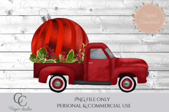 Print on Demand: Bauble Truck Graphic Illustrations By CC Paper Studio