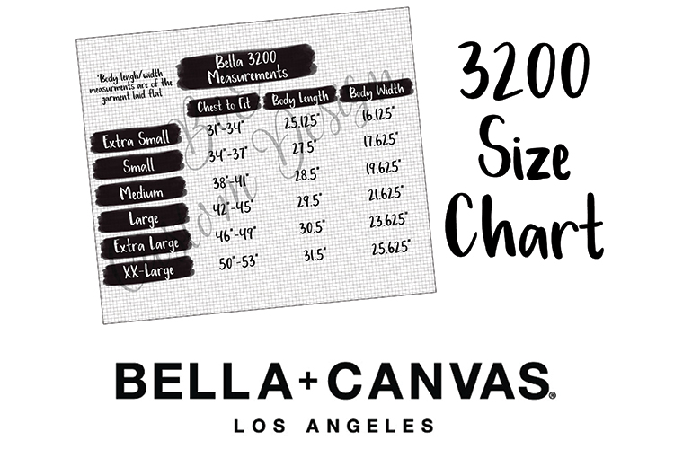 Bella Canvas 3200 Size Chart Graphic By Boecustomdesign