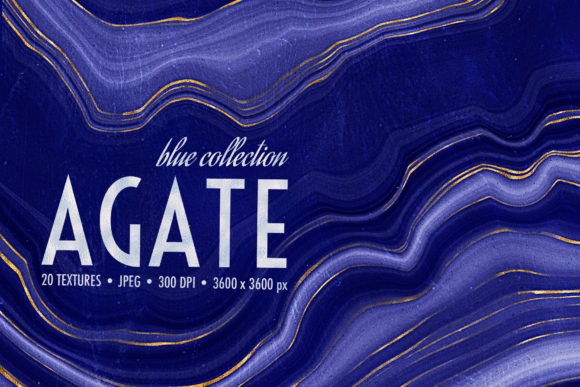 Blue & Gold Agate Geode Textures Graphic Textures By CatJello Graphics