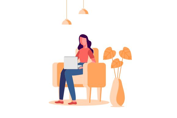 Download Free Business Woman Using Laptop Illustration Graphic By for Cricut Explore, Silhouette and other cutting machines.