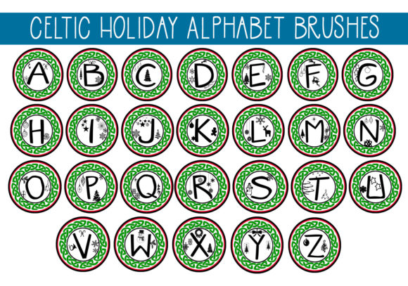 Print on Demand: Celtic Christmas  Alphabet Brushes Graphic Brushes By capeairforce