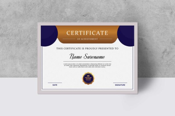 Download Free Certificate Template Graphic By Graphicidenic Creative Fabrica for Cricut Explore, Silhouette and other cutting machines.