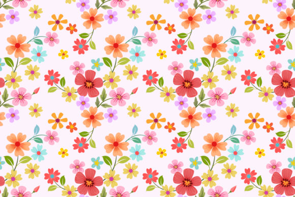 Download Free Colorful Flowers Seamless Pattern Graphic By Ranger262 for Cricut Explore, Silhouette and other cutting machines.