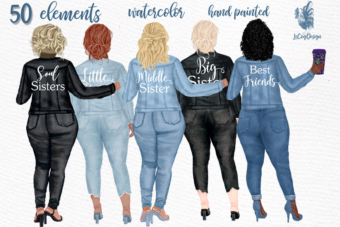 Download Free Curvy Girls Plus Size Girls Clipart Graphic By Lecoqdesign for Cricut Explore, Silhouette and other cutting machines.