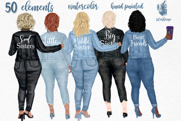 Curvy Girls Plus Size Girls Clipart Graphic Illustrations By LeCoqDesign - Image 1