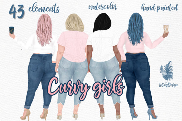 Curvy Girls Plus Size Girls Clipart Graphic Illustrations By LeCoqDesign