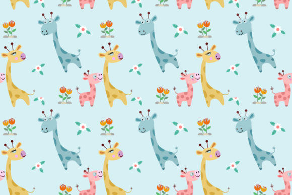Download Free Cute Cartoon Giraffe Family Pattern Graphic By Ranger262 for Cricut Explore, Silhouette and other cutting machines.