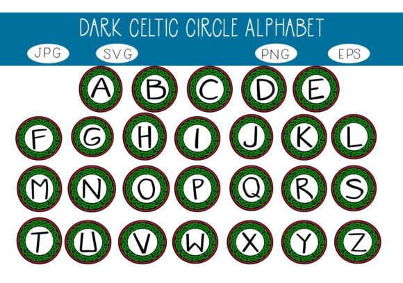 Print on Demand: Dark Celtic Circle Alphabet Graphic Illustrations By capeairforce