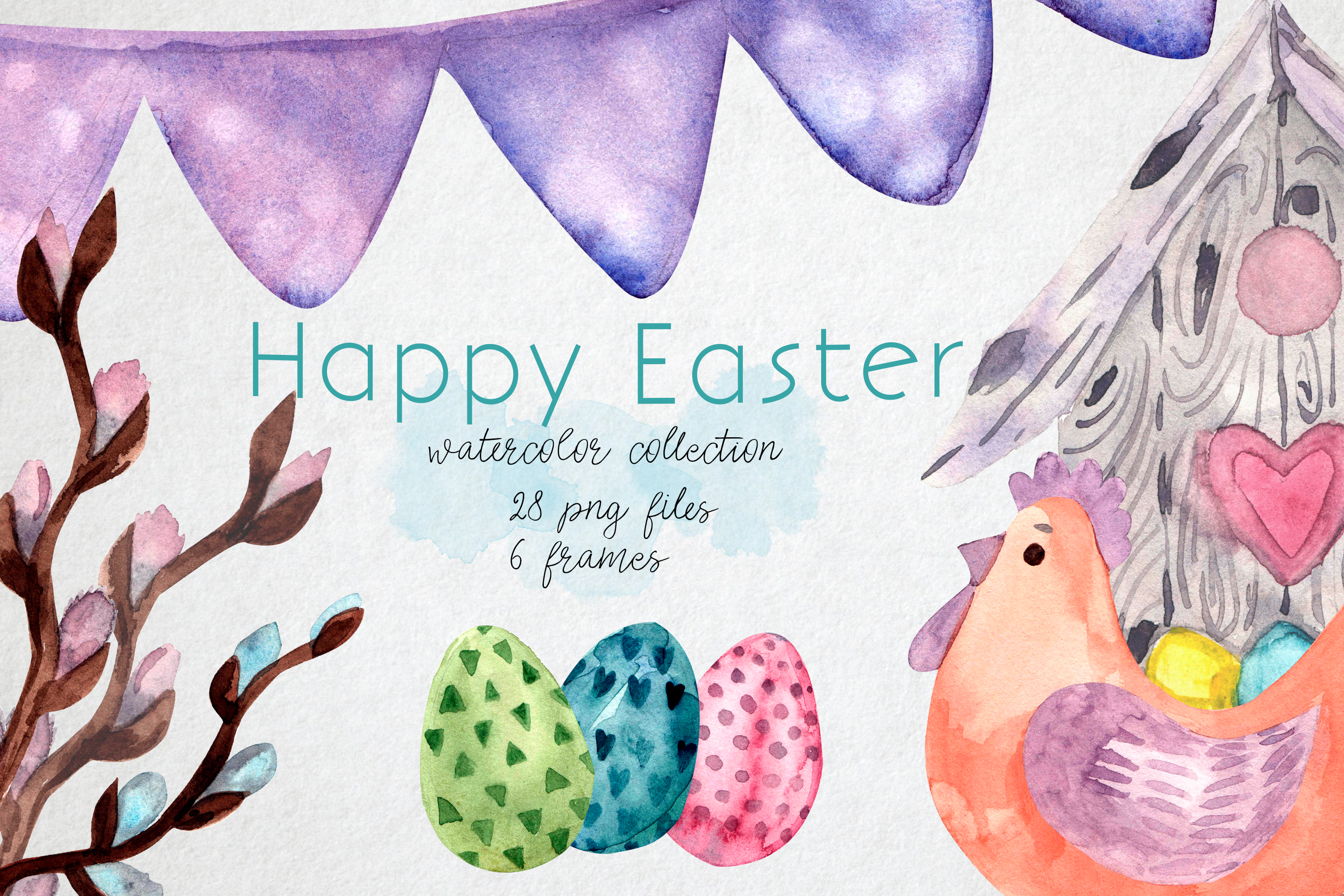 Download Free Easter Clipart Chicks Watercolor Eggs Graphic By Marisid11 for Cricut Explore, Silhouette and other cutting machines.