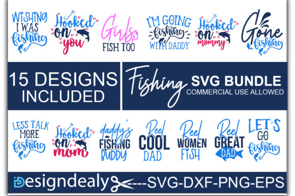Download Free Fishing Bundle Graphic By Designdealy Com Creative Fabrica for Cricut Explore, Silhouette and other cutting machines.