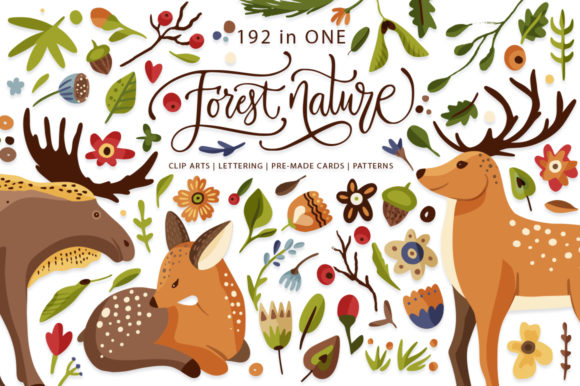Print on Demand: Forest Nature. Animal & Flora Set. Graphic Illustrations By Red Ink