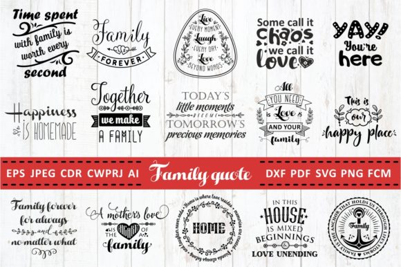 Print on Demand: Familie Liebe Zitate - SVG Bundle Grafik Designvorlagen von millerzoa