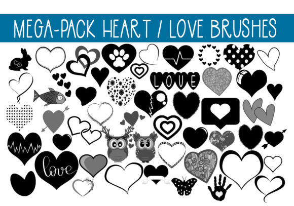 Print on Demand: Mega Pack of Love - Hearts Brushes Graphic Brushes By CapeAirForce - Image 1