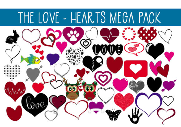 Print on Demand: Mega Pack of Love - Hearts Graphic Illustrations By capeairforce