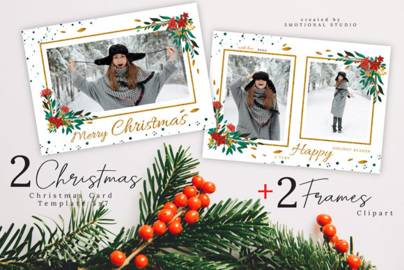 Download Free Merry Christmas Card Template 5x7 Graphic By 3motional for Cricut Explore, Silhouette and other cutting machines.