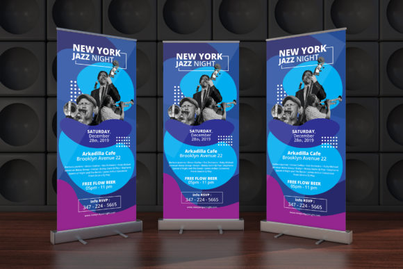 Download Free Rollup Banner Flyer Music Graphic By Gioraphics Creative Fabrica for Cricut Explore, Silhouette and other cutting machines.