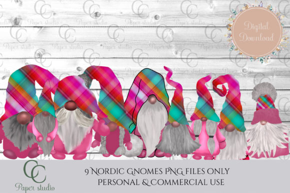 Print on Demand: Scandinavian Tomte Gnomes - Pink Tartan Graphic Illustrations By CC Paper Studio