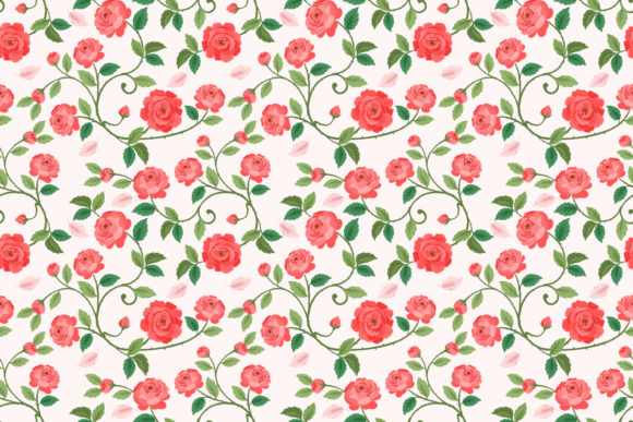 Download Free Seamless Pattern With Beautiful Rose Graphic By Ranger262 for Cricut Explore, Silhouette and other cutting machines.