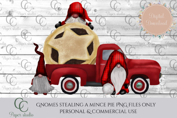 Print on Demand: Stolen Mince Pie - Christmas Gnome Truck Graphic Illustrations By CC Paper Studio
