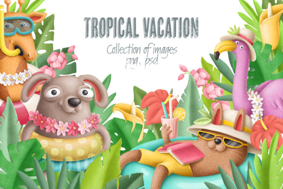 Download Free Tropical Vacation Clipart Graphic By Architekt At Creative Fabrica SVG Cut Files