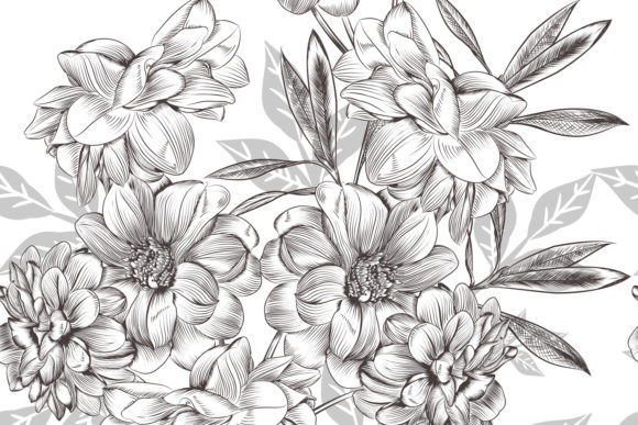 Download Free Vector Hand Drawn Flowers Vintage Style Graphic By for Cricut Explore, Silhouette and other cutting machines.