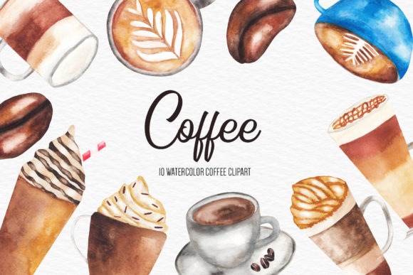 Download Free Watercolor Coffee Illustration Graphic By Bonadesigns Creative for Cricut Explore, Silhouette and other cutting machines.