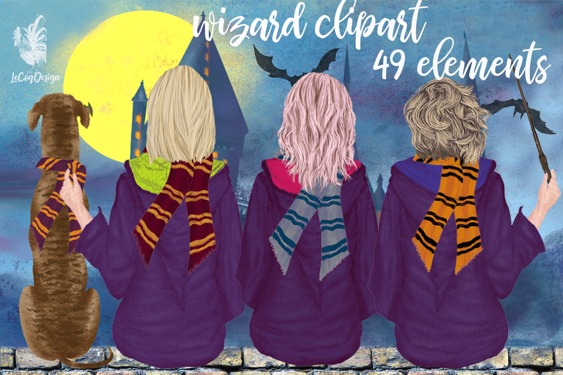 Download Free Wizard Girls Clipart Castel Landscape Graphic By Lecoqdesign for Cricut Explore, Silhouette and other cutting machines.